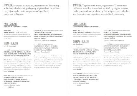 [Ulotka/Program].  Konstrukcja w procesie 1981-Wspólnota, która nadeszła? Sympozjum/ Construction in process 1981-The comunnity that came? Symposium[...]