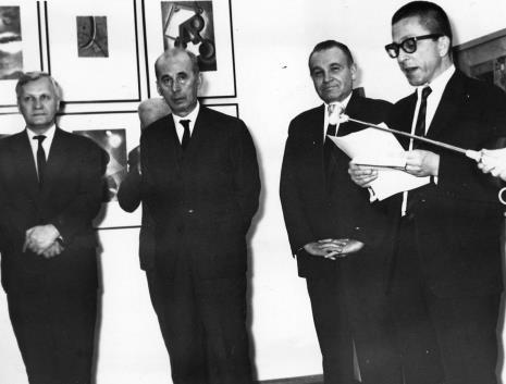 Od lewej Józef Spychalski (I sekretarz KŁ PZPR), Zenon Kliszko (Członek Biura Politycznego KC PZPR), Edward Kaźmierczak (przewodniczący Rady Narodowej), dyr. Ryszard Stanisławski