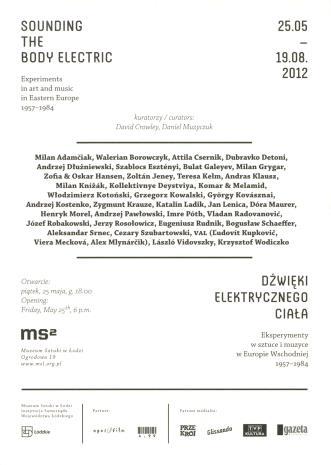 [Zaproszenie] Dźwięki elektrycznego ciała. Eksperymenty w sztuce i muzyce w Europie Wschodniej 1957-1984/ Sounding the body electric. Experiments in art and music in Eastern Europe 1957-1984.  [...]