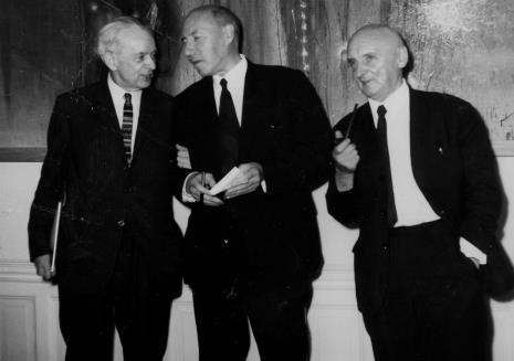 Od lewej Jan Brzękowski, Michel Seuphor, Henryk Stażewski