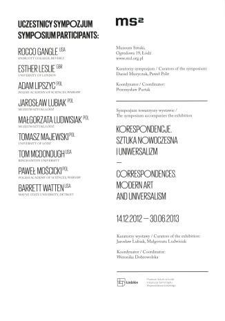 [Ulotka/Program] Konstelacje. Sztuka i doświadczenia nowoczesności-Sympozjum/ Costellations. Art and Experiences of Modernity-Symposium. […]