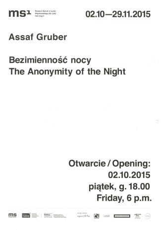 [Zaproszenie]  Assaf Gruber. Bezimienność nocy/ The Anonymity of the Night.