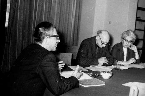 Od lewej dyr. Ryszard Stanisławski, red. Mieczysław Jagoszewski (Dziennik Łódzki), red. Jadwiga Sakowiczowa (Głos Robotniczy)