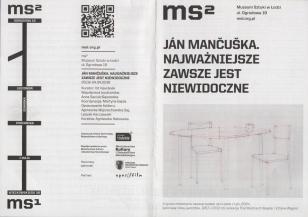 [Ulotka/Folder] Ján Mančuška. Najważniejsze zawsze jest niewidoczne.