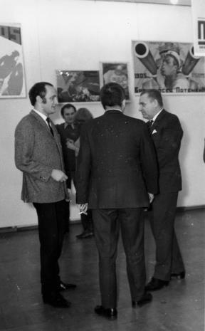 Od lewej inż. Jakub Wujek, dyr. Ryszard Stanisławski, Edward Kaźmierczak (przewodniczący Rady Narodowej w Łodzi)