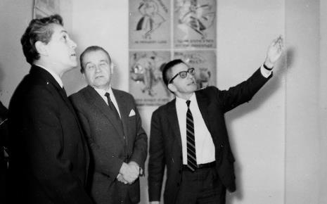 Od lewej przedstawiciel ambasady ZSRR, Edward Kaźmierczak (przewodniczący Rady Narodowej w Łodzi), dyr. Ryszard Stanisławski
