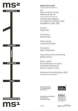 [Ulotka/Folder] Stephen Kaltenbach. Index of possibilities.