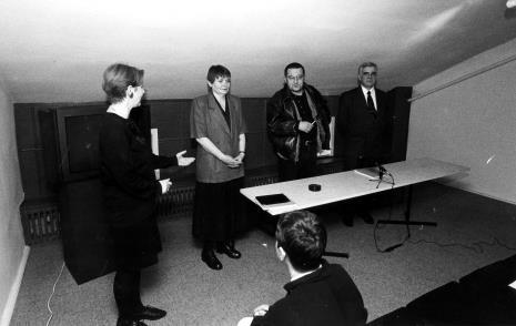 Konferencja prasowa, od lewej Katarzyna Jasińska (Dział Promocji), komisarz wystawy Zenobia Karnicka (Dział Sztuki Nowoczesnej), Mariusz Kruk, dr Jacek Ojrzyński (Dział Dokumentacji Naukowej)