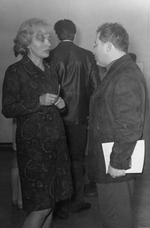 Halina Zawilska (Dział Sztuki Polskiej) w rozmowie z poetą Tadeuszem Różewiczem